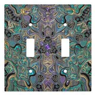 Teal Gold Purple Mandala Light Switch Cover