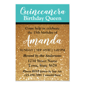 Teal Gold Quinceañera Birthday Invitation Glitter