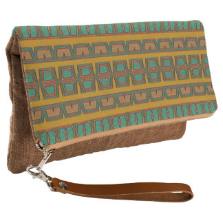 Teal & gold tribal clutch