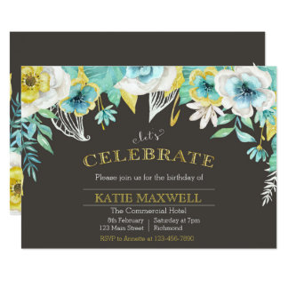 Teal & Gold Watercolor Floral Birthday Invite