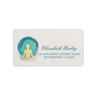 Teal Gold Watercolor Yoga Mediation Instructor Label