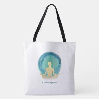 Teal Gold Watercolor Yoga Mediation instructor Tote Bag