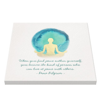 Teal Gold Watercolor YOGA Meditation Instructor Canvas Print