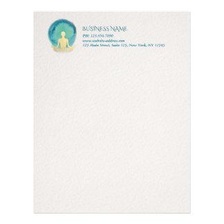 Teal Gold Watercolor YOGA Meditation Instructor Letterhead