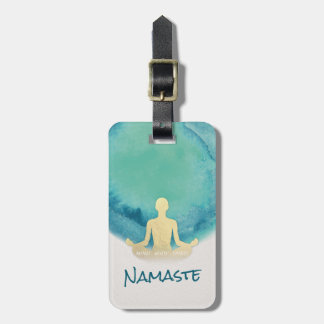 Teal Gold Watercolor YOGA Meditation Instructor Luggage Tag