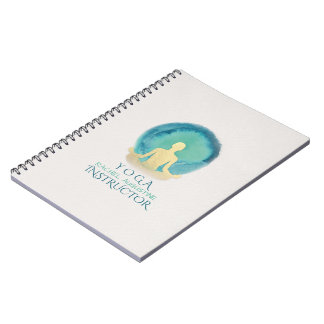 Teal Gold Watercolor YOGA Meditation Instructor Notebook
