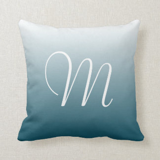 Teal Gradient Ombre Initial Monogram Throw Pillow