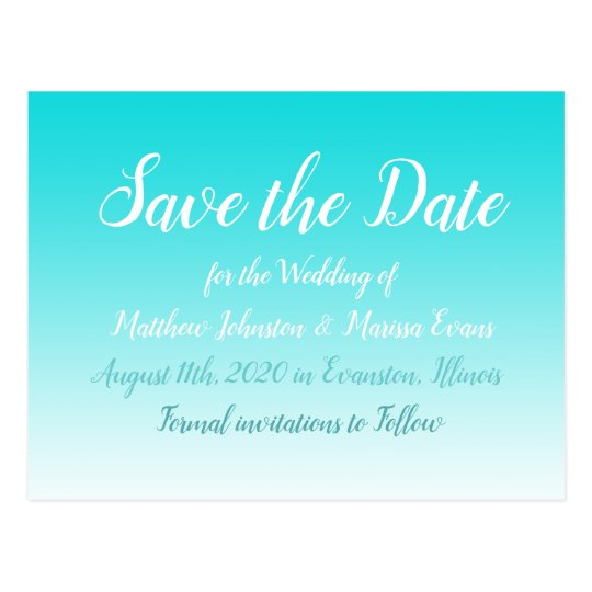 Teal Gradient Personalized Save the Date Postcards