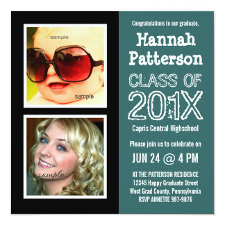 """Teal Graduation Party with 2 Photos 5.25"""" Square Invitation Card"""