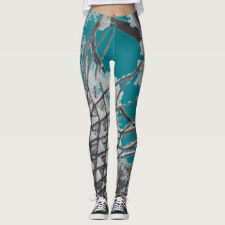 Teal Gray and White Abstract Snowy Bonds Leggings