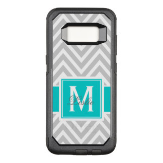 TEAL, GRAY CHEVRON PATTERN PERSONALIZED OtterBox COMMUTER SAMSUNG GALAXY S8 CASE