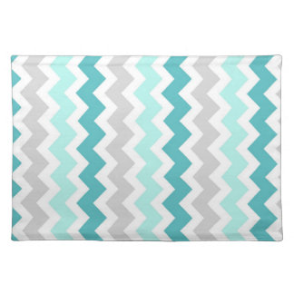 Teal Gray Chevron Pattern Place mats