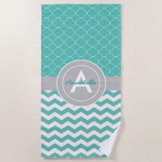 Teal Gray Chevron Quatrefoil Beach Towel