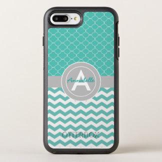 Teal Gray Chevron Quatrefoil OtterBox Symmetry iPhone 8 Plus/7 Plus Case
