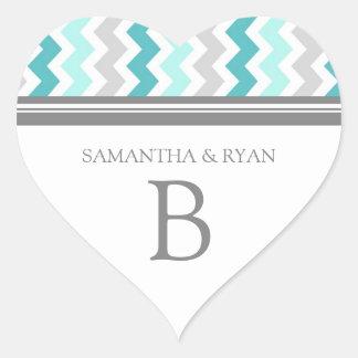 Teal Gray Chevrons Monogram Envelope Seal Heart Sticker