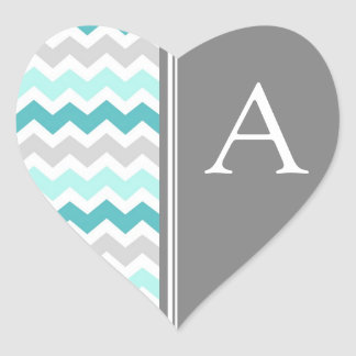 Teal Gray Chevrons Monogram Envelope Seal Heart Stickers