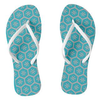 Teal Gray Geometric 4Dwayne Flip Flops