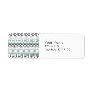 Teal Gray Geometric Aztec Tribal Print Pattern Return Address Label
