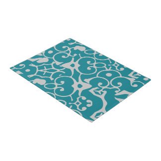 Teal Gray Ornate Design 4Debbie Doormat