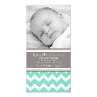 Teal Gray Thank You Baby Shower Photo Cards