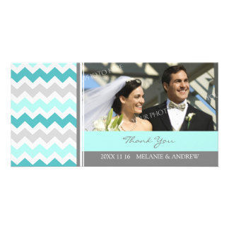 Teal Gray Thank You Wedding Photo Cards