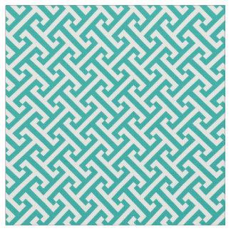 Teal Greek Key Pattern Fabric