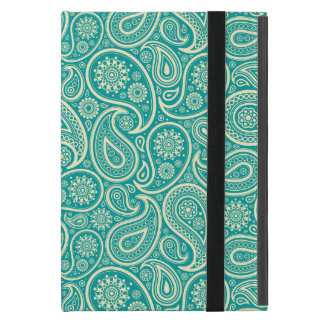 Teal-Green And Beige Vintage Paisley iPad Mini Covers