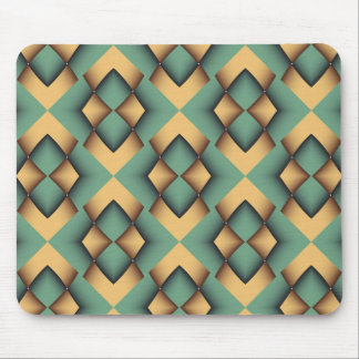 Teal green and Gold diamond shapes Mouse Pad