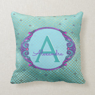 Teal Green and Purple Mermaid Scales Monogram Throw Pillow