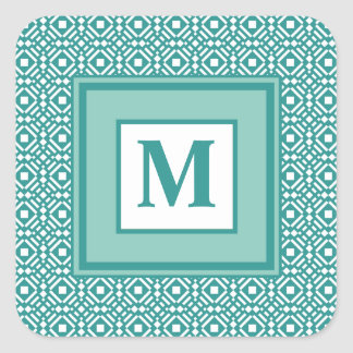Teal Green and White Geometric Tiled Pattern Square Sticker