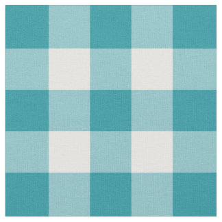 Teal Green and White Gingham Pattern Fabric