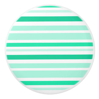 Teal Green and white Striped Knob