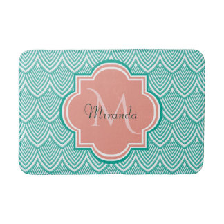 Teal Green Art Deco Fish Scales Pink Monogram Name Bath Mat