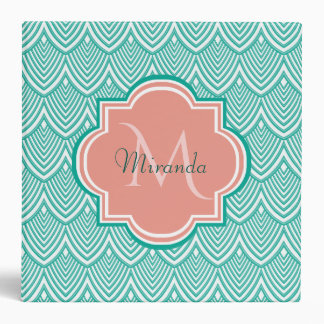 Teal Green Art Deco Fish Scales Pink Monogram Name Binder