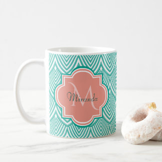 Teal Green Art Deco Fish Scales Pink Monogram Name Coffee Mug