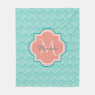 Teal Green Art Deco Fish Scales Pink Monogram Name Fleece Blanket