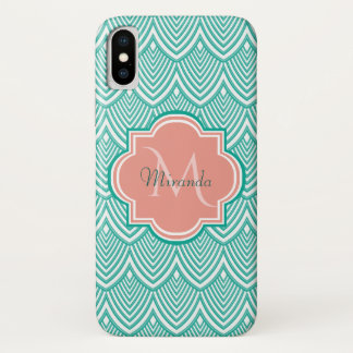 Teal Green Art Deco Fish Scales Pink Monogram Name iPhone X Case