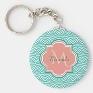 Teal Green Art Deco Fish Scales Pink Monogram Name Keychain