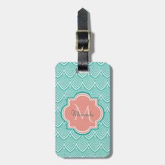 Teal Green Art Deco Fish Scales Pink Monogram Name Luggage Tag