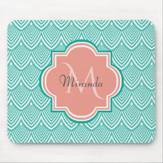 Teal Green Art Deco Fish Scales Pink Monogram Name Mouse Pad