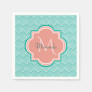 Teal Green Art Deco Fish Scales Pink Monogram Name Napkin