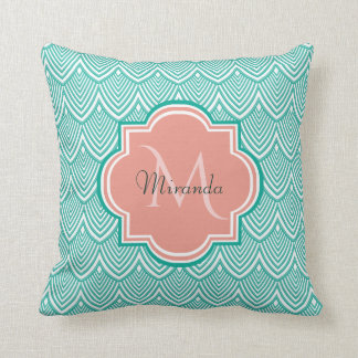 Teal Green Art Deco Fish Scales Pink Monogram Name Throw Pillow