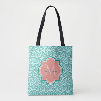 Teal Green Art Deco Fish Scales Pink Monogram Name Tote Bag
