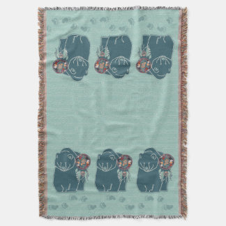 Teal Green Bear and Animal Tracks Native American Throw Blanket