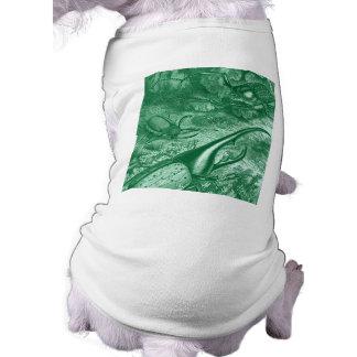 Teal Green Beetles Vintage Print Dog T-shirt