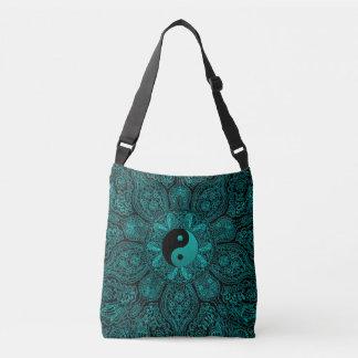 Teal Green Black Yin-Yang Mandala Tote Bag