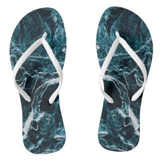 Teal Green Blue Abstract Pattern Flip Flops