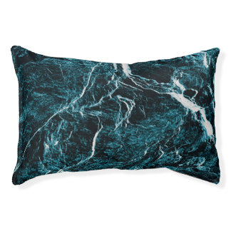 Teal Green Blue Black Abstract Pattern Pet Bed
