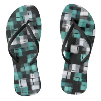 Teal Green Blue Black White Abstract Plaid Flip Flops