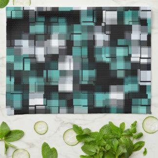 Teal Green Blue Black White Abstract Plaid Kitchen Towel